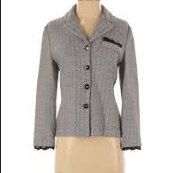 St. John Collection Tweed Blazer with Lace Trim